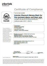 Intertek UL Fire Rated Certifications